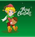 cartoon of an elf for christmas theme vector image vector image