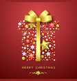 christmas giftbox background with shining bow vector image vector image