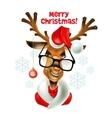 Christmas santa hipster deer vector image