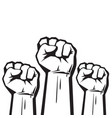 clenched fists raised in protest vector image vector image