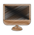 color crayon stripe silhouette of lcd monitor vector image vector image