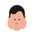 fat sad emoji stout guy sorrowful isolated vector image vector image