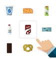 flat icon food set of cheddar slice bottle fizzy vector image