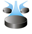 flying hockey puck to the center with the train vector image