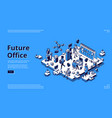 future office isometric landing human and robots vector image vector image