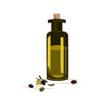 glass bottle with olive oil and olives isolated on vector image