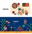 Horizontal Seafood Banners Set vector image vector image