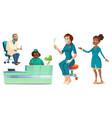 hospital healthcare staff set doctors and nurses vector image