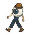 human eye walks on its feet color sketch vector image vector image