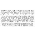impossible shapes font paradox alphabet letters vector image vector image
