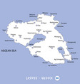island of lesvos in greece white map and blue vector image vector image