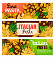 italian pasta pastry food and greenery vector image vector image