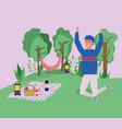 jumping man blanket food basket wine trees camping vector image vector image