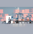 man engineer controlling conveyor belt line vector image vector image