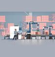 man engineer controlling conveyor belt line vector image