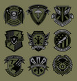 military patch emblem badge set in army green vector image vector image