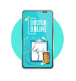 realistic 3d detailed doctor online app concept vector image vector image