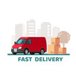 red delivery van with cardboard boxes with fragile vector image