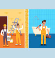 repairs room prservice promotion flat banner vector image vector image