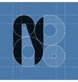 Round engineering font Symbol N vector image vector image