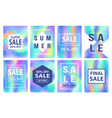 sale banners template set holographic background vector image vector image