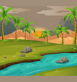 scene with coconut trees along the river vector image vector image