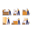set guide furniture assembly with worker vector image