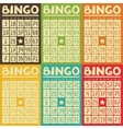 Set of retro bingo or lottery cards for game vector image vector image