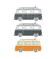 Set of Retro vintage travel camper vans vector image vector image