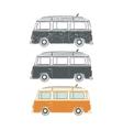 set retro vintage travel camper vans vector image vector image