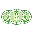 set three coins money dollar currency vector image