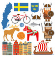 set with design elements symbols sweden and vector image