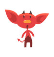 shocked or surprised red devil character isolated vector image vector image