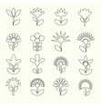simple retro small flowers set of outline icons vector image vector image