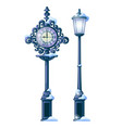 vintage snowy street clock with ornate dial and vector image vector image