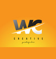 wc w c letter modern logo design with yellow vector image vector image