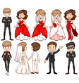 Wedding couples in different costumes vector image