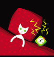 white cat woke up to sound an alarm clock vector image