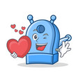 with heart pencil sharpener character cartoon vector image