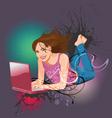woman laptop vector image vector image
