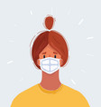 woman s face in a medical protective mask vector image