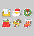 year icon sticker set isolated vector image