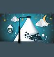 cartoon paer landscape street lamp bulb light vector image