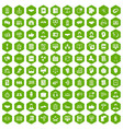100 discussion icons hexagon green vector image vector image