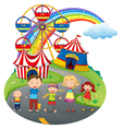 A happy family at the carnival vector image