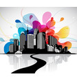 abstract sky with cityscape and bridge vector image vector image