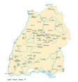 baden wuerttemberg map with major cities vector image vector image