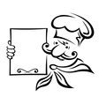 Baker of chef with menu vector image