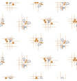 Bee and flowers seamless pattern hand