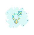 cartoon gender equal icon in comic style men and vector image vector image